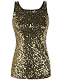 PrettyGuide Women's Tank Top Sequined Sparkle Shimmer Plus Size Party Top Gold XXL/18-20