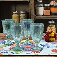 The Pioneer Woman Luster Green 12.5-Ounce Pearlized Goblet, Set of 4