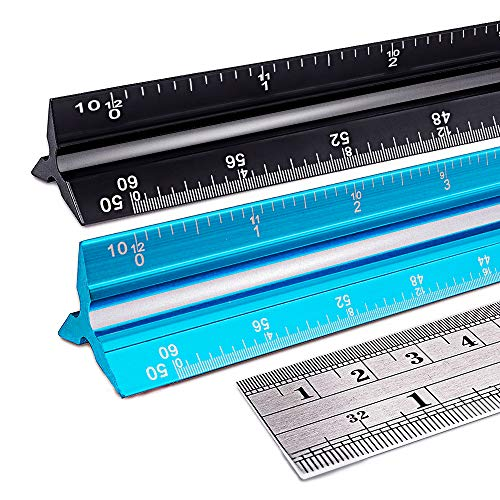 Architectural Scale Ruler, Number-one 12 Inch Engineer Scale Ruler Set (Imperial) Laser-Etched Aluminum Triangular Drafting Tool for Architect and Civil Engineering Blueprints | Standard Metal Ruler I
