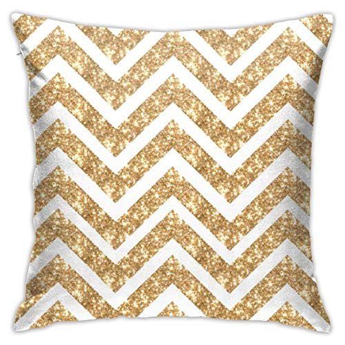 HaiYI-ltd Glitter Gold Chevron Sparkly Stripes Zig Zag Paris Bebe Medium Pillow Case Daily Decoration Throw Pillowcase Sofa Bedroom Car Cushion Cover Pillow Cover 18'x 18'
