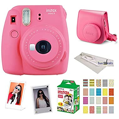 Fujifilm Instax Mini 9 instant Fuji Camera PINK + Camera Case + instant Mini 9 Film Twin Pack + instax Picture Frame + instax Magnet Frame + 20 Border Stickers Kit +FREE Cleaning cloth (Flamingo Pink)