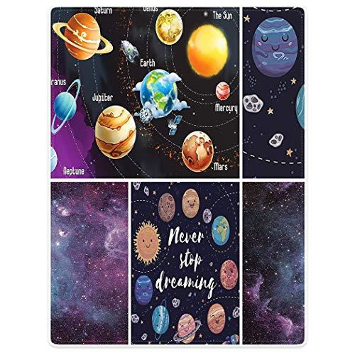 BorisMotley - Manta de franela suave con sistema solar para niños, diseño de cometas espaciales, sol, luna, estrella, sistema solar, galaxia, estrellas, espacio universal, poliéster, color blanco, 100 x 125 cm