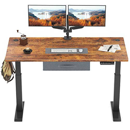 FEZIBO Height Adjustable Electric Standing Desk, 48 x 24 Inches Stand Up Desk Workstation, Full Sit Stand Home Office Table with Programmable Preset Controller, Black Frame/Dark Rustic Brown Top