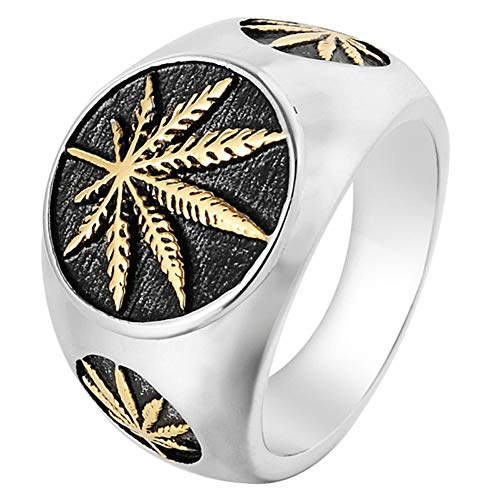 SAINTHERO Men's Vintage Stainless Steel Ring Weed Marijuana Cannabis Leaf Symbol Rock Punk Hip-hop Jewelry Gold Size 15