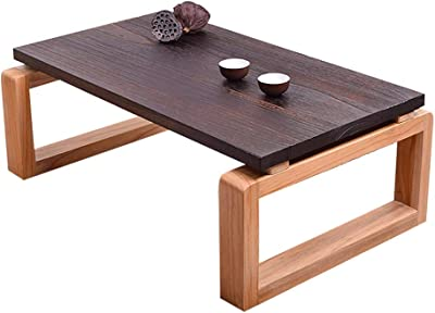 Study Mini Coffee Table Living Room Tea Table Mini Desk Balcony Low Table Solid Wood Japanese Chat Tea Table Children Learning Small Table (Contains Two Cushions) (Color : Brown, Size : 70cm)