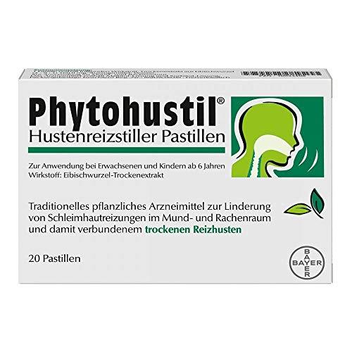 Die 20er Packung der Phytohustil® Hustenreizstiller Pastillen in praktischen abtrennbaren Blistern, optimal auch für unterwegs