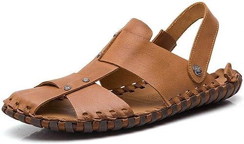 Sandalias y Pantuflas para Hombre zapatos de Cuero para Hombre de la Capa Superior Diaria Salvaje Sandalias de Cuero para Hombre en la Playa al Aire Libre .zapatos de Moda