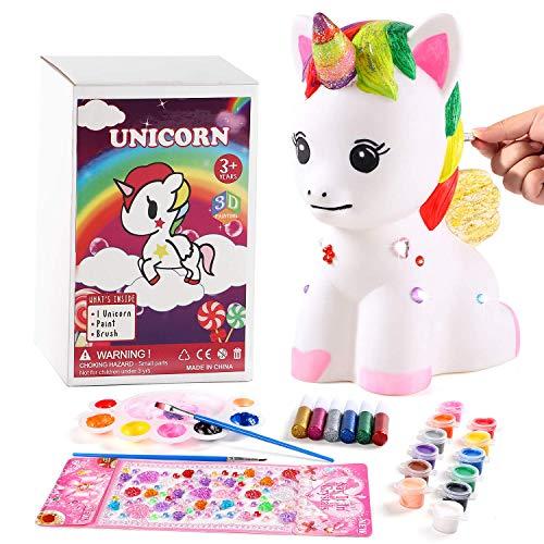 vamei Unicornio Regalos Cumpleaños Unicornio Juego para modelar y Pintar Hucha Unicornio Kit de Pintura Unicornio para niñas DIY Decoración Artes y Manualidades para niños (A)
