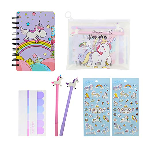 HIFOT Unicorn Stationery Set Kawaii Stationery Set for Girls, Clear Unicorn Pencil Case Unicorn Diary Journal Notebook Unicorn Gel Pens Ballpoint Pen Stickers Gifts for Students School Supplies