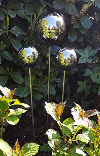 garten-wohnambiente Rosenkugel 3er Set 15-10-10 cm Edelstahl poliert Dekokugel Kugel mit Stab 80 cm