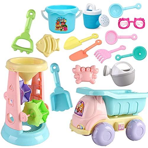 Aoten Summer Beach Toys - Juego de 20 piezas para niños, caja de arena, bucket Rake Hourglasses Water Table Fun Game Shovel de silicona suave