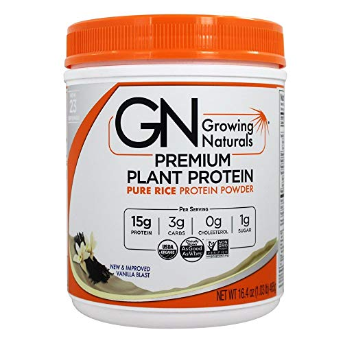 Growing Naturals Rice Protein Isolate Powder, Vanilla Blast, 465-Gram