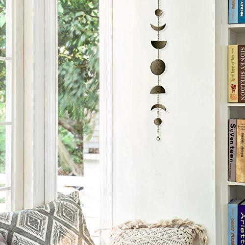 Mondphasen Girlande Wanddekoration, Böhmen Mondphase hängenden Girlande Ornamente mit Metall Kupferkette für Hochzeit Apartment Wohnheim Partydekorationen,34 Zoll (Bronze)
