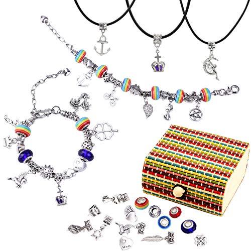 PHOGARY 66-teilig Charm Armband Kit, DIY Bettelarmband Schmuck Geschenke Set für Teenager Mädchen zum Selbermachen von Armbändern und Halsketten (handgefertigter Schachtel)