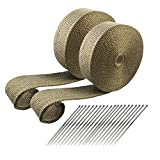ARTR Titanium Lava Fiber Exhaust Header Wrap 2 Rolls (2' x 50' each roll) Kit with 20pcs 11.8 Inch Stainless...