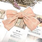 HZL Neue Perle helle Oberfläche Big Bow Haarnadel Reine Farbe High-End-Satin benutzerdefinierte Federclip Boutique Haarnadel-rosa Pulver