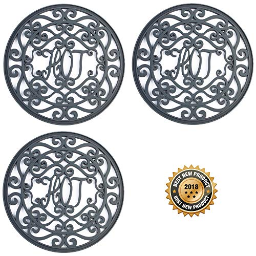 Silicone Trivet Set for Hot Dishes | Modern Kitchen Hot Pads for Pots & Pans |'Hot' Ironworks Design (Rustic Charm) Mimics Cast Iron Trivets (7.5' Round, Set of 3, Dark Gray)