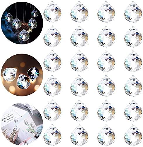 FORMIZON Regenbogenkristall Deko, 24PCS Kristallglaskugel, Regenbogenkristall Kristallkugeln, Kristall Glas Kugel, Kristallkugeln Schmuck für Prisma Deko, Aufhängen Kronleuchte Deko