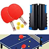 GENNISSY Table Tennis Set,Portable Ping Pong Paddle Set with 1 Retractable Ping Pong Net+2 Ping Pong Paddles+3 Professional Ping Pong Balls, Table Tennis Accessories for Indoor & Outdoor Play