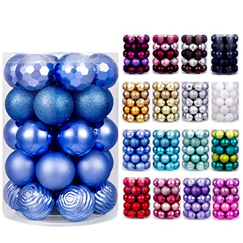 XmasExp 60mm/2.36' Christmas Ball Ornaments Shatterproof Christmas Ornaments Set Decorations for Xmas Tree Balls - 34ct (2.36'', Diamond Blue)