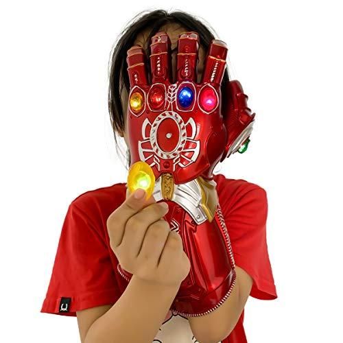 LIUQI Infinity Gauntlet per Bambini, Guanto Rosso Thanos con 6 Pietre Rimovibili Magnete Infinity Stones-3 modalità Flash Festa di Halloween Prop