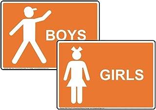 Girls Boys Bathroom Signs 2-Piece Set, 7x5 inch Orange Plastic for Restrooms by ComplianceSigns