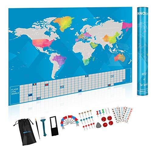 INNObeta Travel World Map Scratch Off Poster, Global Walkabout Scratch Off Map International, Reiscadeau voor reizigers, Reizen