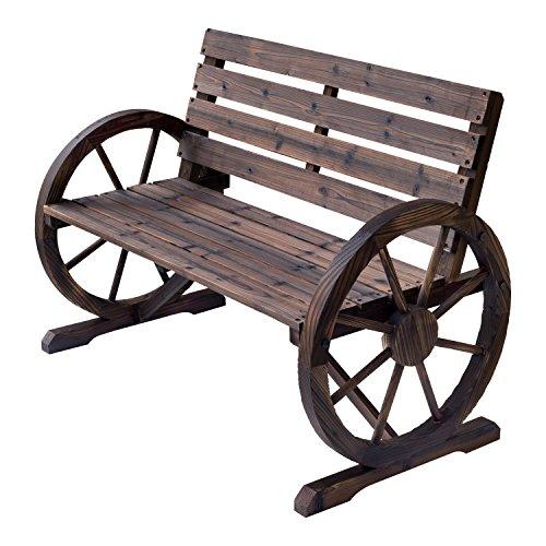 Outsunny Gartenbank 2-Sitzer Sitzbank Holzbank Wagenrad mit Armlehne Landhausstil Tannenholz Braun 105,5 x 56 x 75 cm
