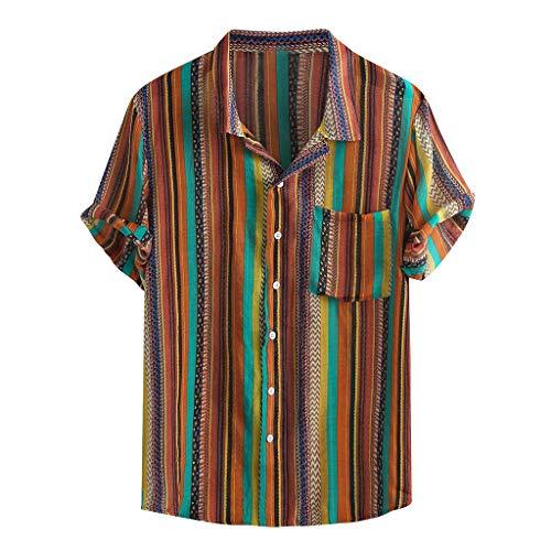 BBring Hawaiihemd für Herren Ethnisch Gestreift M Mehrfarbig 213218 (Funky hawaiihemd Hawaiibluse 3D Druck blumenhemd freizeithemd Freizeitshirt Hawaii-Print Aloha Shirt)