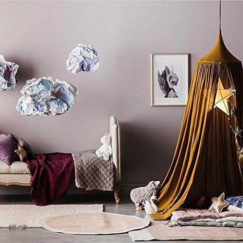 Treasure-House Baby Betthimmel Baldachin Baumwolle Rund Moskitonetz Insektenschutz Kinder Prinzessin Spielzelte Dekoration fürs Kinderzimmer (yellow)