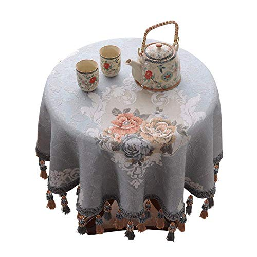 European Style Tafelafdekking huis Rond tafelkleed Jacquard Borduren Tablecloth Dik Anti-kleuring tafelkleed met kwastje (Size : 200cm)