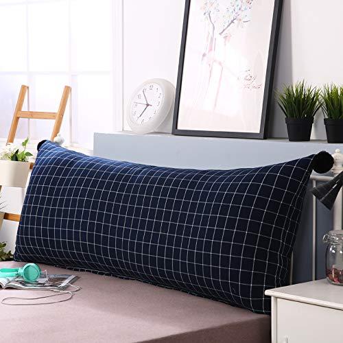Kissen Bett Rückenlehne Kopfteil Kissen Lesen Rückenlehnenkissen Softpack Sofa Großes Rückenbett Doppelt Langes Kissen (7 Farben - 5 Größen),NavyBlue-150L*55H*30Wcm