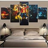 SGYANZLG 5 Pieces/Set One Piece HD Anime Wall Mural DIY Canvas Pintura Pared Arte ImpresióN Carteles Y Artes Decoraciones Modernas HabitacióN Apartamento DecoracióN25/20/15x10CM Without Frame