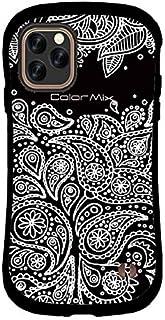 【強化ガラス+リングホルダー付き】iPhone11Pro Max iface mall×Color Mixとのコラボデザインバージョン 耐衝撃ケース (iPhone11Pro Max, ペイズリー/ブラック)