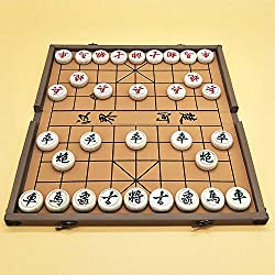 Xiangqi Chinese Chess Set with Folding Box and Chess Board, Large Size, 4CM Diameter