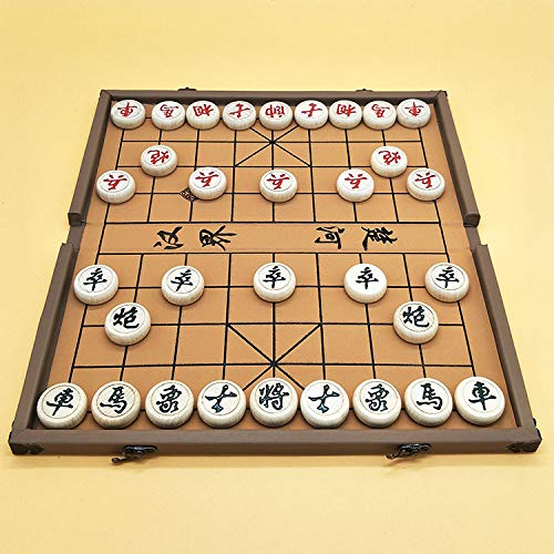 Elloapic Beechwood Xiangqi Chinese Chess Set with Folding Box and Chess Board,...