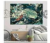 MRBIGWEI Moby Dick Blauwal Poster und Drucke drucken auf