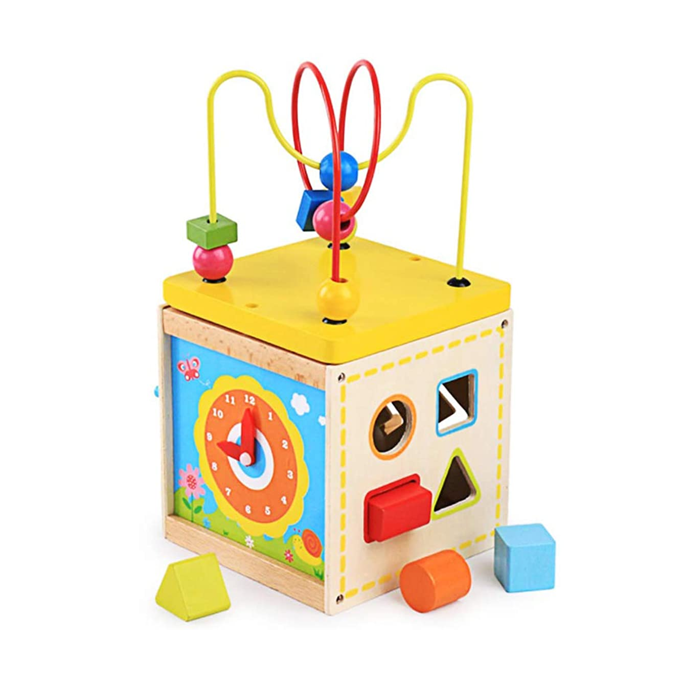 KUKALE Wood Maze Game Shapes Colors Match Case Kids Training Development Exercise Tool for Kids