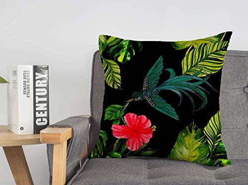 Decorative Linen Throw Pillow Cover Green Animal Watercolor Tropical Amphibian Nature Bird Celebration Exotic Feather Floral Summer Soft Square Cushion Case for Sofa Chair Bedroom 18 x 18 Inch