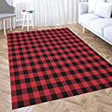5x7 Area Rug,Shorping Play Area Rug Winter Rug Christmas Area Rugs Red Buffalo Plaid Modern Home Carpet,Fun Area Rug,Floor Mats for Home Bedroom,Large Area Rugs