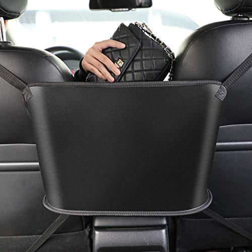UooEA Car Mesh Bag Handtaschenhalter, Organizer für weichen Rücksitz und Brieftaschenhalter mit doppelten Gurten, Pet Kids Barrier, Fahrertasche für Taschentücher, Flaschen, Telefon