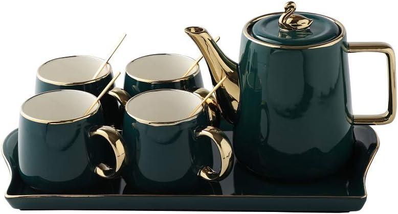Tiamo Tea Cup Teapot Clearance SALE Limited time Set Tray Coffe Emerald 5 ☆ popular with Ceramic