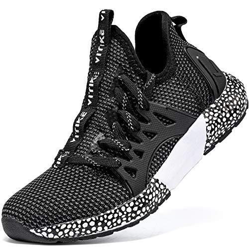 Elaphurus Kinder Sportschuhe Jungen Sneaker Mädchen Hallenschuhe Outdoor Laufschuhe Turnschuhe für Unisex-Kinder, 29 EU, A Schwarz