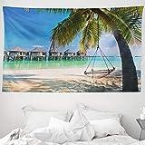 ABAKUHAUS Playa Tapiz de Pared y Cubrecama Suave, Costa Tropical del Caribe, Lavable Colores No Destiñen, 230 x 140 cm, Multicolor