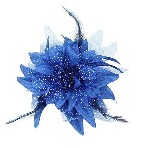 Plus Nao(プラスナオ) ヘアクリップ ヘアアクセサリー 子供用 キッズ お花 フラワーモチーフ 羽根 フェザー チュール 髪飾り 髪留め ヘアア - ブルー
