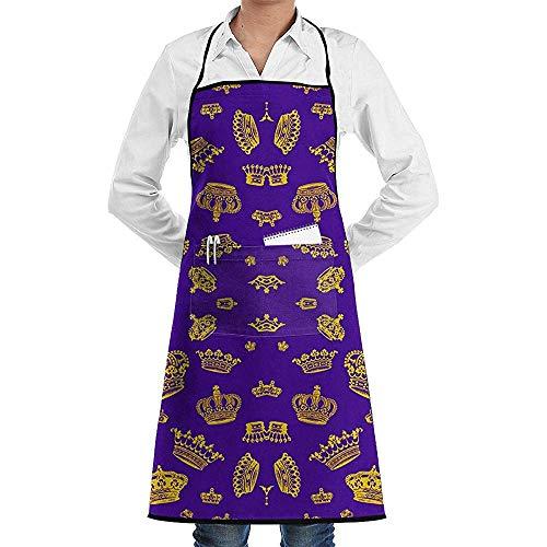 Schort Royal Kronen - Goud Op Paars Met Zakken Vrouwen Keuken Bib Schort Verstelbare Resistant schorten Koken Chef Mannen Zwart