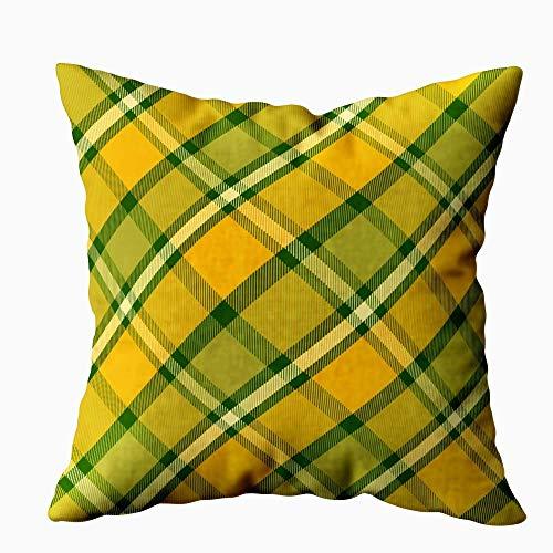 New-WWorld-Shop Weihnachten Dekokissen Abdeckung Tartan Muster Gelb Grün Textur Plaid Tischdecken Kleidung Hemden Kleider Papier Bettwäsche Weihnachten Dekorative Dekokissenbezug
