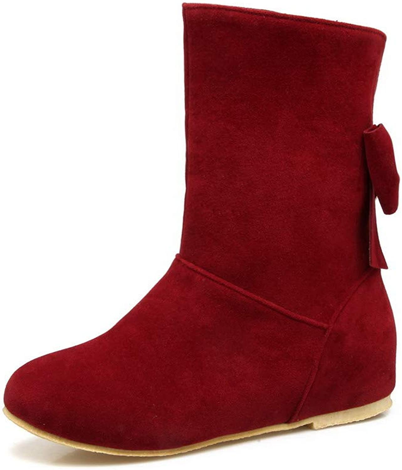 AmoonyFashion Women's Frosted Closed-Toe Solid Mid-Calf Low-Heels Boots, BUTXT021238