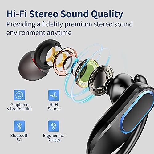 Auriculares Inalambricos Deportivos, Auriculares Bluetooth 5.1 con Microfono, IP7 Impermeable Auricular In-Ear con Cancelación de Ruido, Reproducci 48 Horas Adecuado para Correr y Hacer Deporte Negro