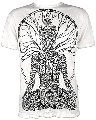Sure - Camiseta para hombre Hamsa Guru Yoga Buda Fatima Henné blanco M